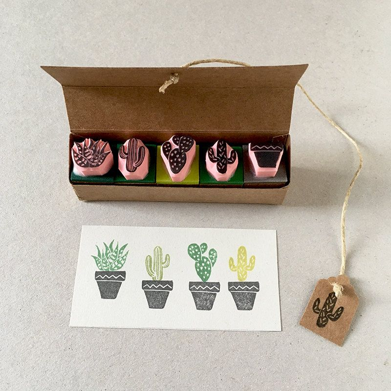 Cactus rubber stamps, set of 5, mini stamps, hand carved, succulent plants, cactus plants, cacti