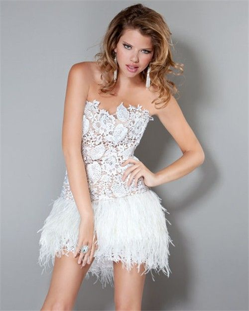 Sexy Strapless Short/Mini White Feather Lace Party Cocktail Dress ...