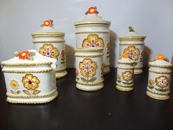 Vintage Retro Floral Ceramic Kitchen Canister Set - Set of 7 ...