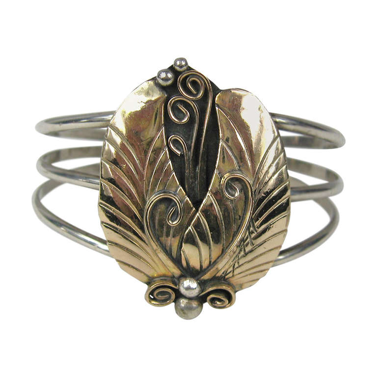 Southwestern old pawn 14K gold & Sterling silver cuff | From a unique collection of vintage cuff bracelets at http://www.1stdibs.com/jewelry/bracelets/cuff-bracelets/