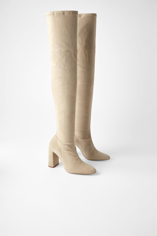 Zamszowe Kozaki Xl Na Obcasie Kozaki Buty Kobieta Zara Polska Suede High Heel Boots Suede High Heels Boots