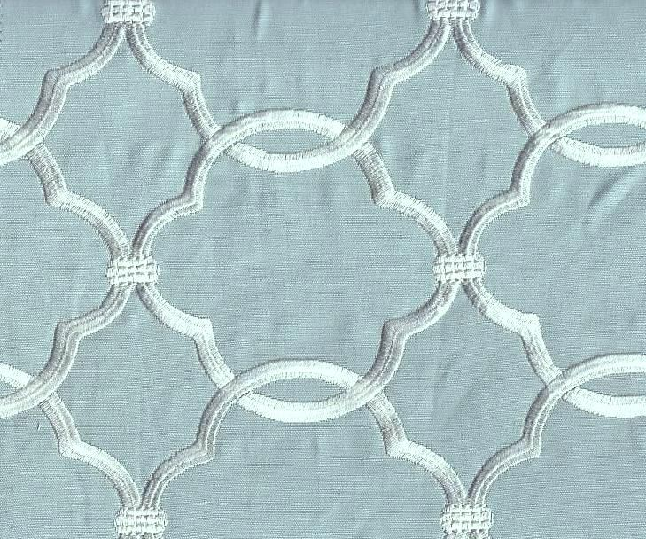 Embroidered Ocean Mist fabric