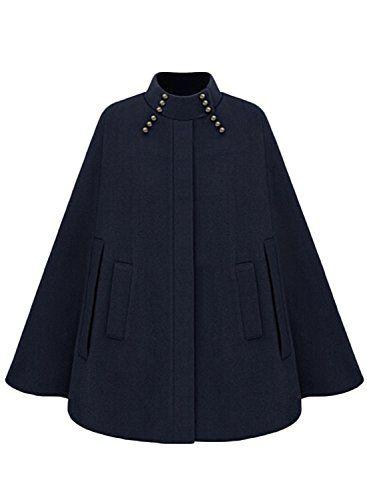 14061fae94d0 Azbro Womens Fashion Winter Warm Woolen Cape Cloak Coat Navy S     Want  additional