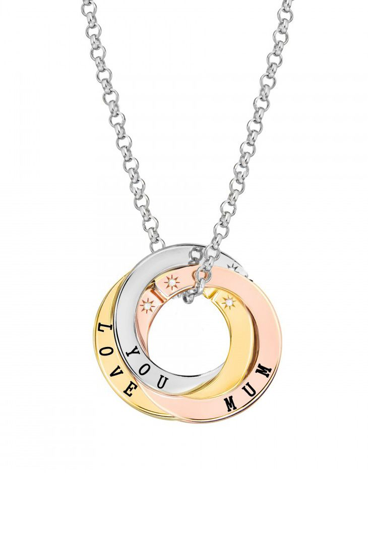 Lily & Lotty Scripted 3 Colour Hand Set Diamonds Amazing, Wonderful, Beautiful 3 Tone Message Necklace of 75 cm