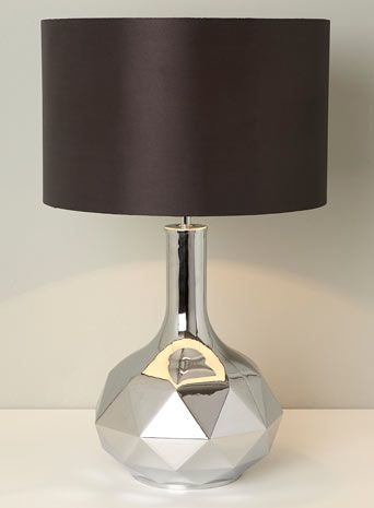 BHS // Illuminate Atelier // Jules Table Lamp // Chrome silver geometric lamp base with a black drum shade