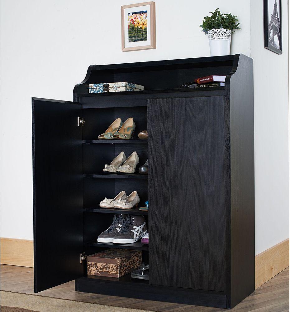 Contemporary Shoe Cabinet Shelf Storage Modern Sleek Black Finish