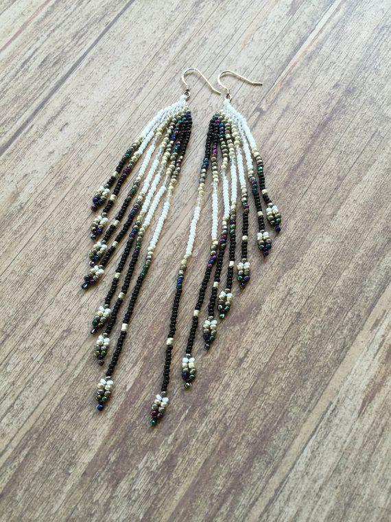 #SeedBead #Earrings, Long #Fringe Earrings, #Beaded Earrings, #Peacock Style #Black, #Silver and #White #Jewelry #Etsy