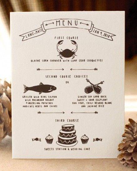 Très Un menu DIY pour votre mariage | Menus, Menu original et Mariages QT69