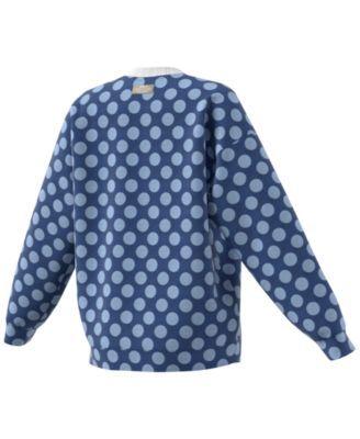 adidas Dot-Print Trefoil Sweatshirt - Blue L