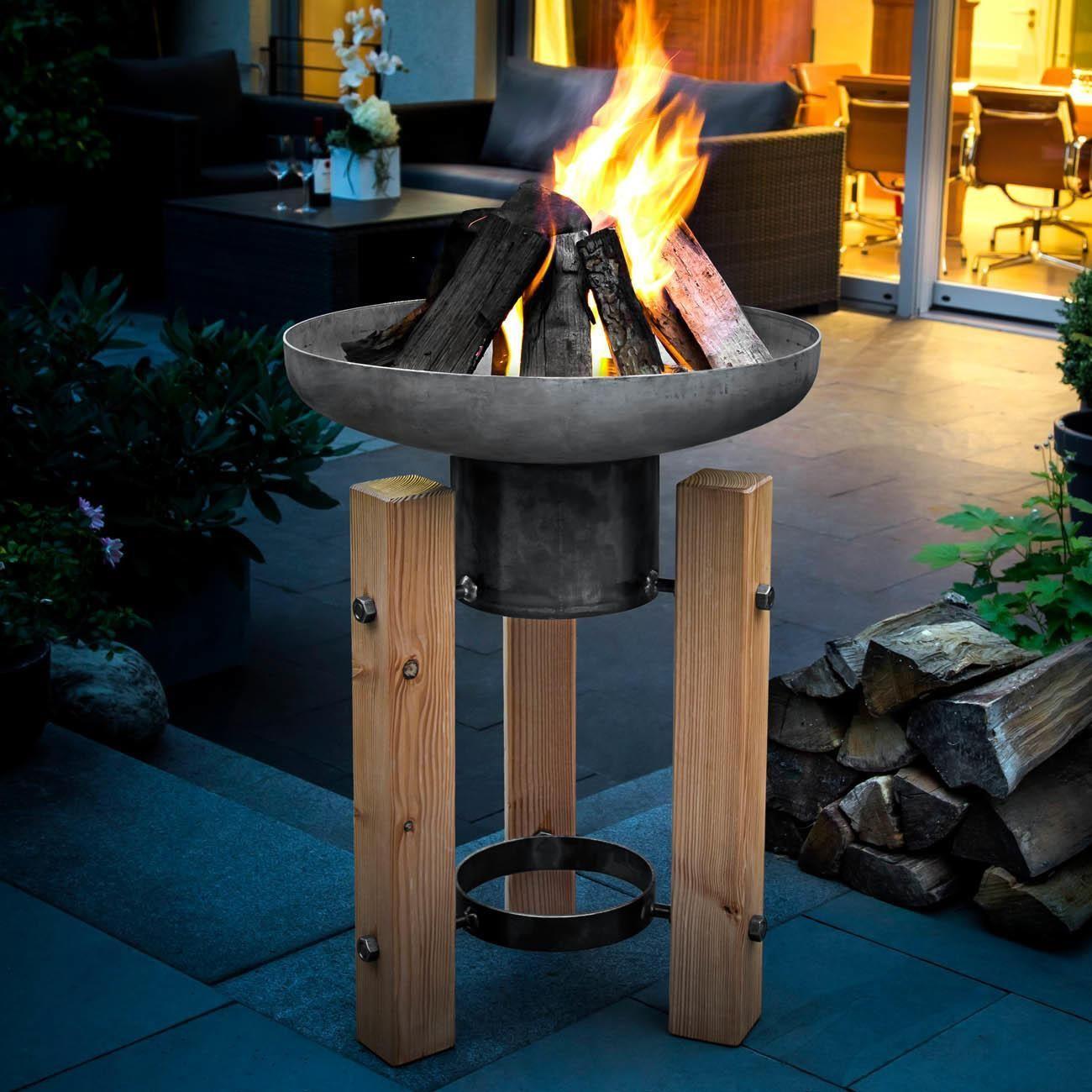 Brasero À L Éthanol wooden frame fire pit | boule de feu, cheminée de jardin et