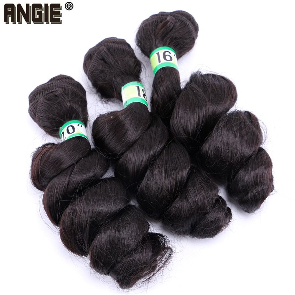 ANGIE Black Loose Wave Hair Bundles 1620 inch pure Color
