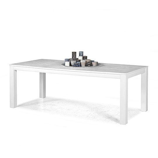 Meubels Tafels Vancouver 100x220 cm, Eettafel, White Brushing - anrichte küche weiß