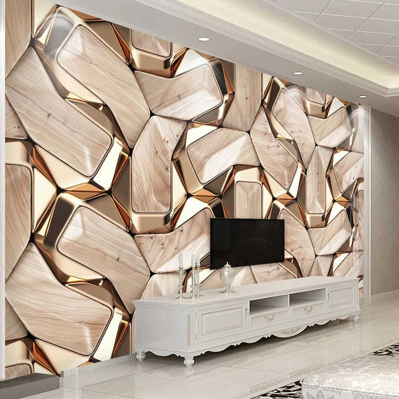 Self Adhesive Mural Wallpaper Modern 3d Abstract Geometry Gold Metal Pattern Photo Wall Paper Living Room Ktv Waterproof Canvas Aliexpress Mural Wallpaper Wall Painting Living Room Custom Photo Wallpaper
