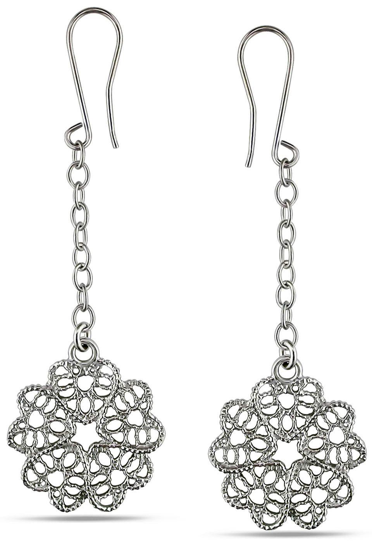 Sofia B Flower Drop Earrings in Silver - Beyond the Rack