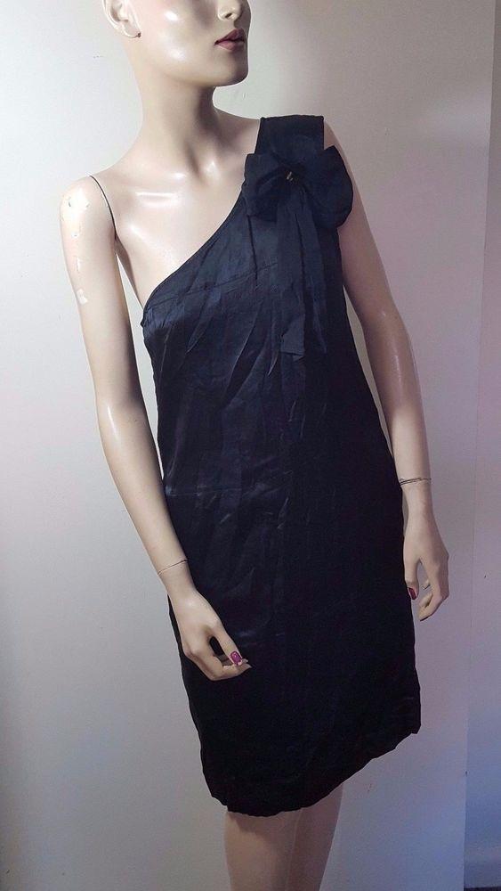 dd58cb36b61e3 See by Chloe Size 12 Black Silk One Shoulder Asymmetric Party Evening Mini  Dress  Chlo