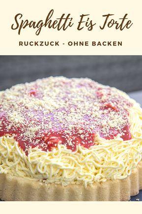 Spaghetti Eis Kuchen - noch leckerer, als das Spaghetti Eis aus der Eisdiele. Ideal für Kindergeburtstage! Ohne backen in 15 Minuten. #recipesspaghetti