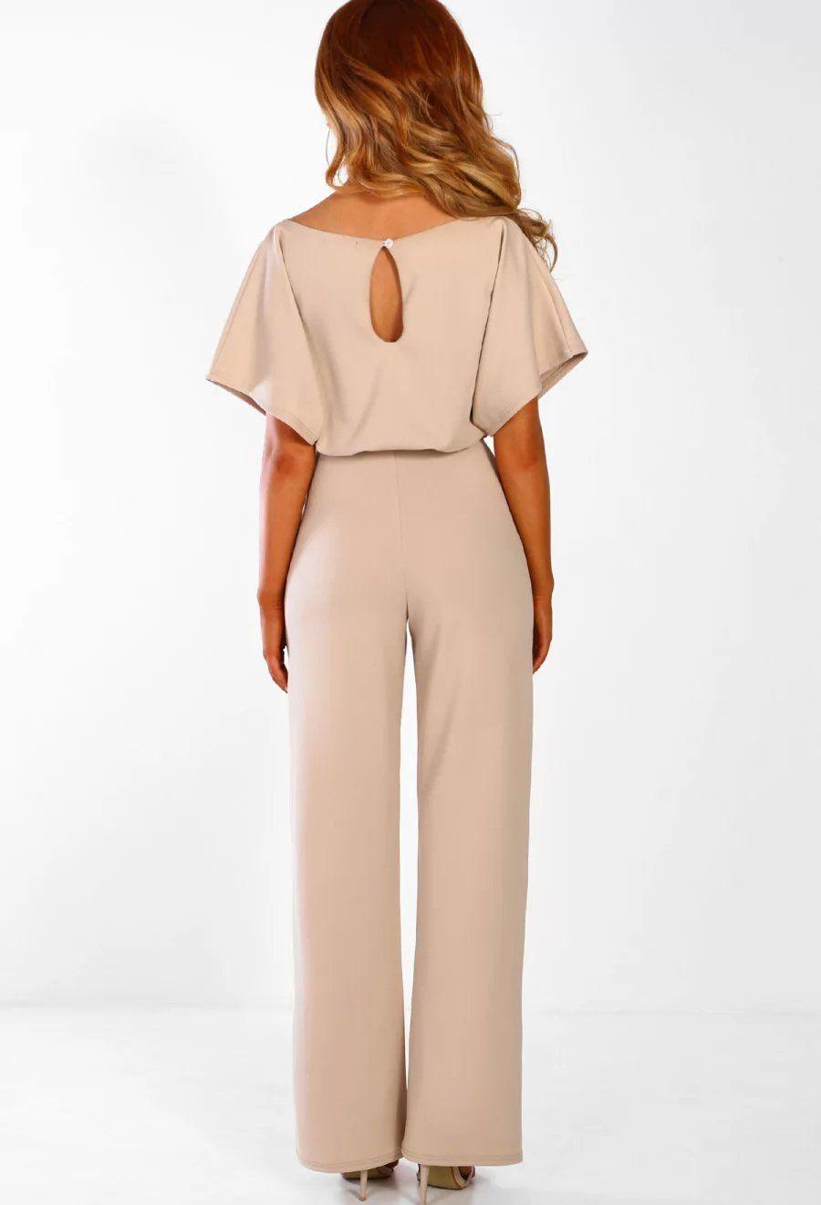 73d2bd0955 Lace Up Short Sleeve High Waist Wide Leg Jumpsuit Lace Up Short ...