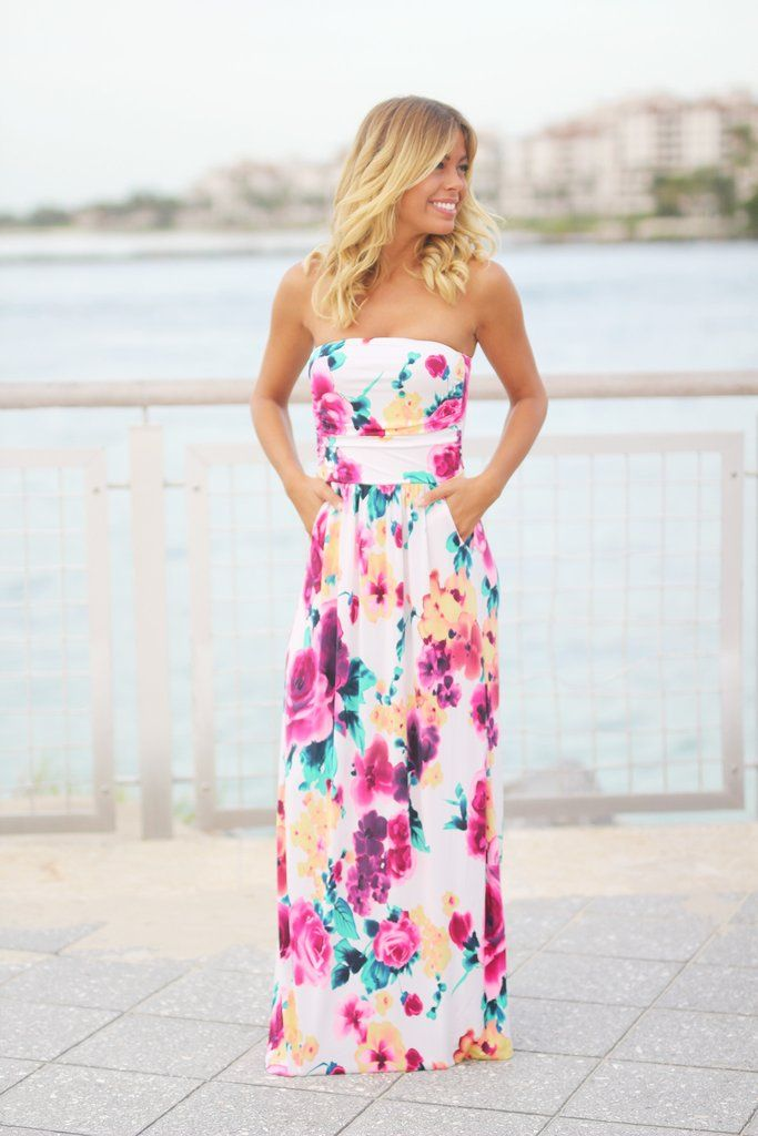 f3213ec8e2e9b Ivory Floral Maxi Dress with Pockets | d r e a m c l o s e t ...