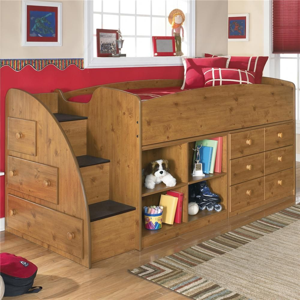 stages twin loft bed with left storage steps bookcase chest by signature design by