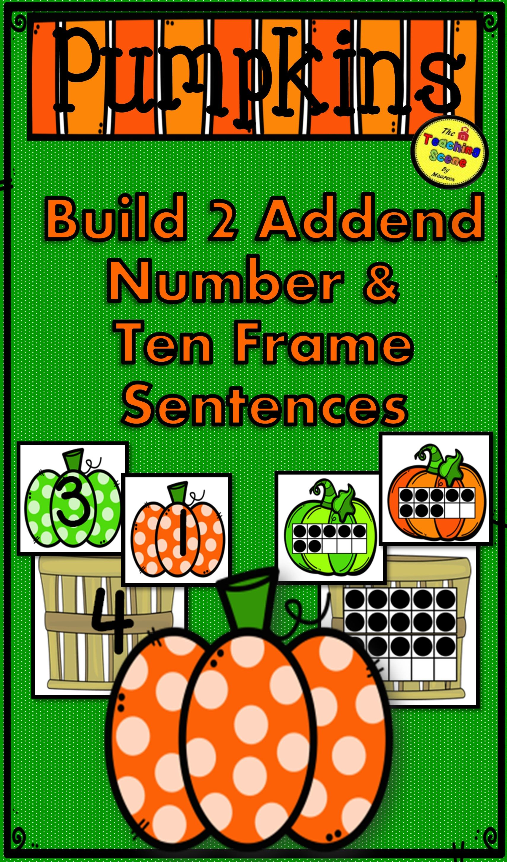 Pumpkin 2 Addend Addition Amp Subtraction With Ten Frames
