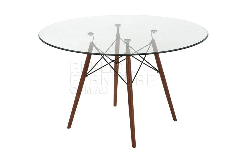 Replica Eames Glass Dining Table 120cm Walnut Legs Glass Table
