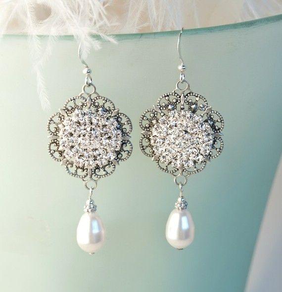 Vintage Bridal Pearl Chandelier Earrings, Dangle Rhinestone ...