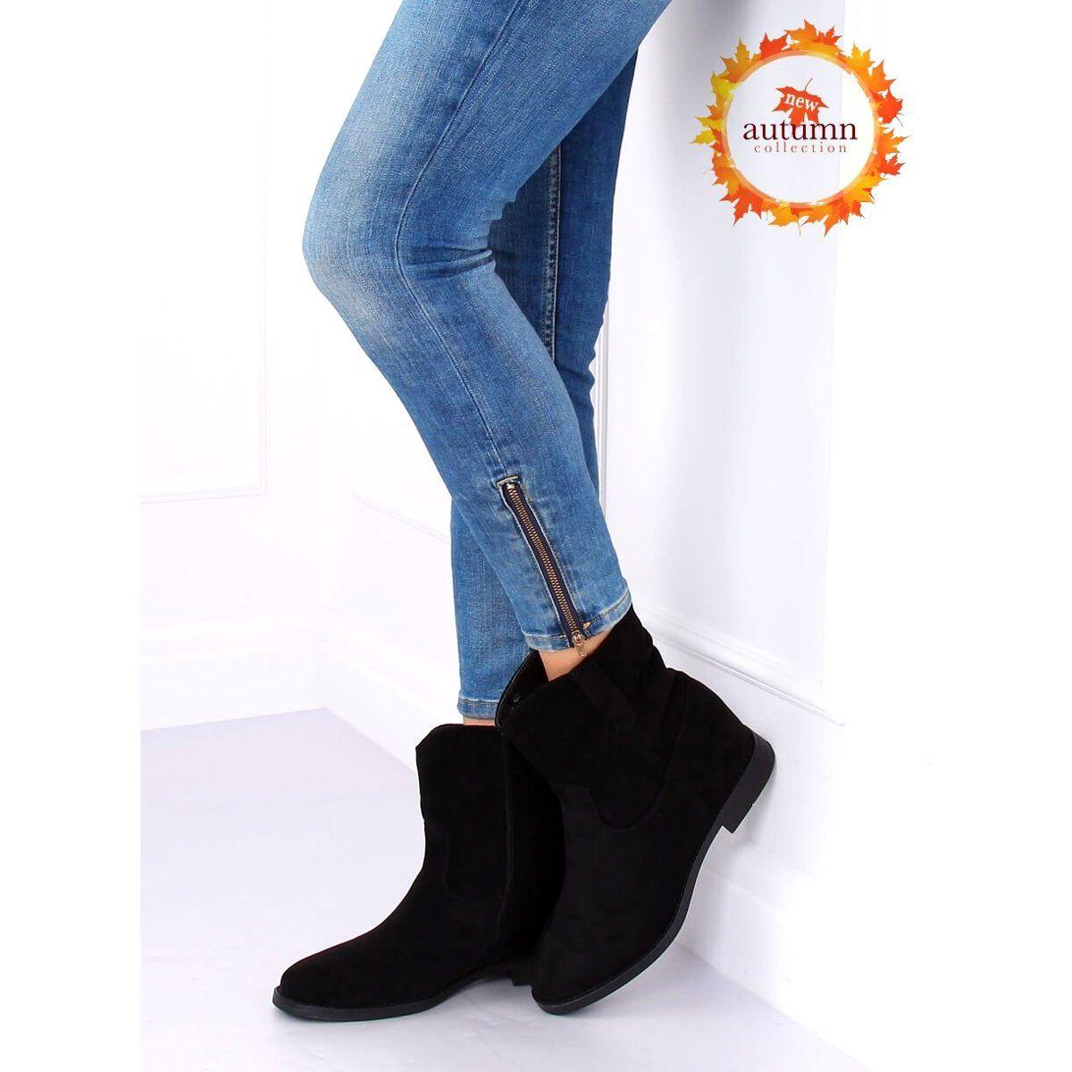 Botki Na Ukrytym Koturnie Czarne Nc980 Black Black Boots Boots Boot Shoes Women
