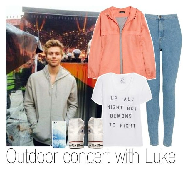 """""""Outdoor concert with Luke"""" by reticency ❤ liked on Polyvore featuring Topshop, A.P.C., Zoe Karssen, Converse, BlissfulCASE, women's clothing, women's fashion, women, female and woman"""