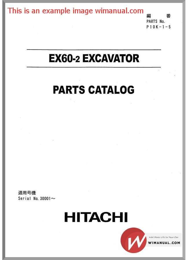 Hitachi Ex60 2 Excavator Parts Catalog