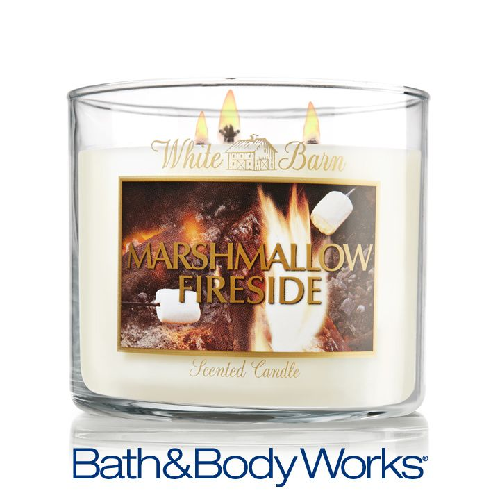 Marshmallow Fireside 3-Wick Candle — a #FragranceFan favorite blend of marshmallows, smoldering woods and creamy vanilla ♥ #LUVBBW