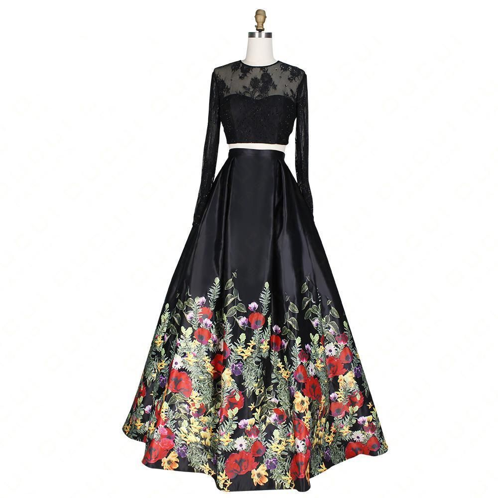 Full sleeves lace party evening dress long piece backless flowers