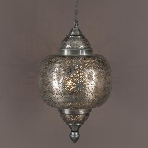 Oriental pierced metal pendant light artemano