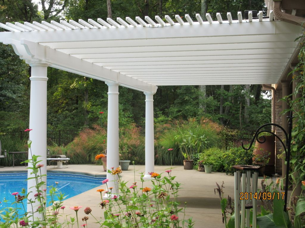 Low Maintenance Vinyl Pergola Kit Poolside South Carolina Pergola Vinyl Pergola Pergola Ideas For Patio