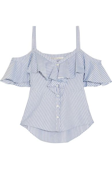 cb41dbe7023f9a Veronica Beard - Grant Cold-shoulder Ruffled Striped Cotton Blouse - Blue