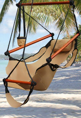 Amazon.com   New Deluxe Tan Sky Air Chair Swing Hanging Hammock Chair W/