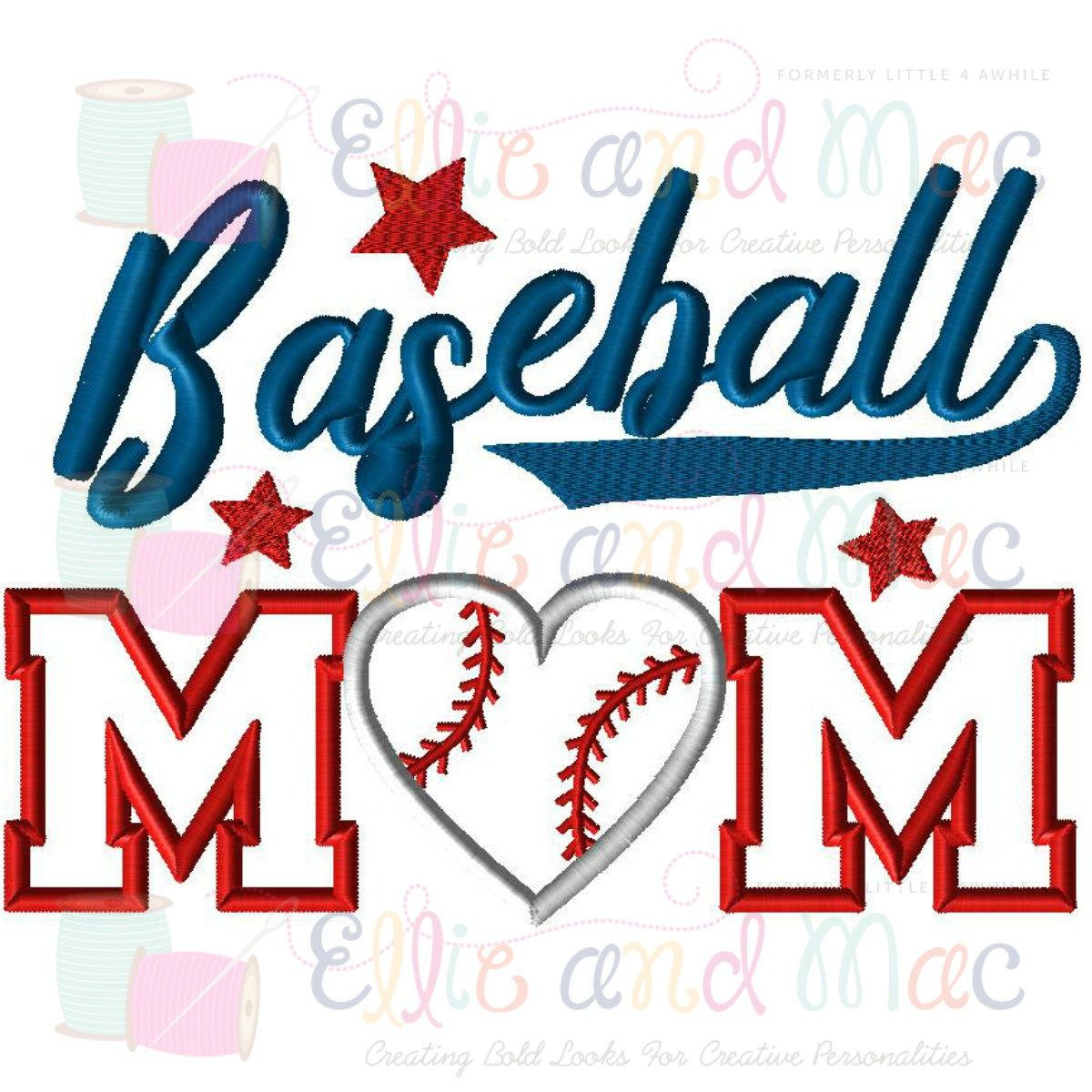 Baseball Design, Baseball Embroidery Design, Baseball Mom Embroidery Design, Mom Applique design, Baseball Applique, Sports Embroidery by EandMEmbroidery on Etsy