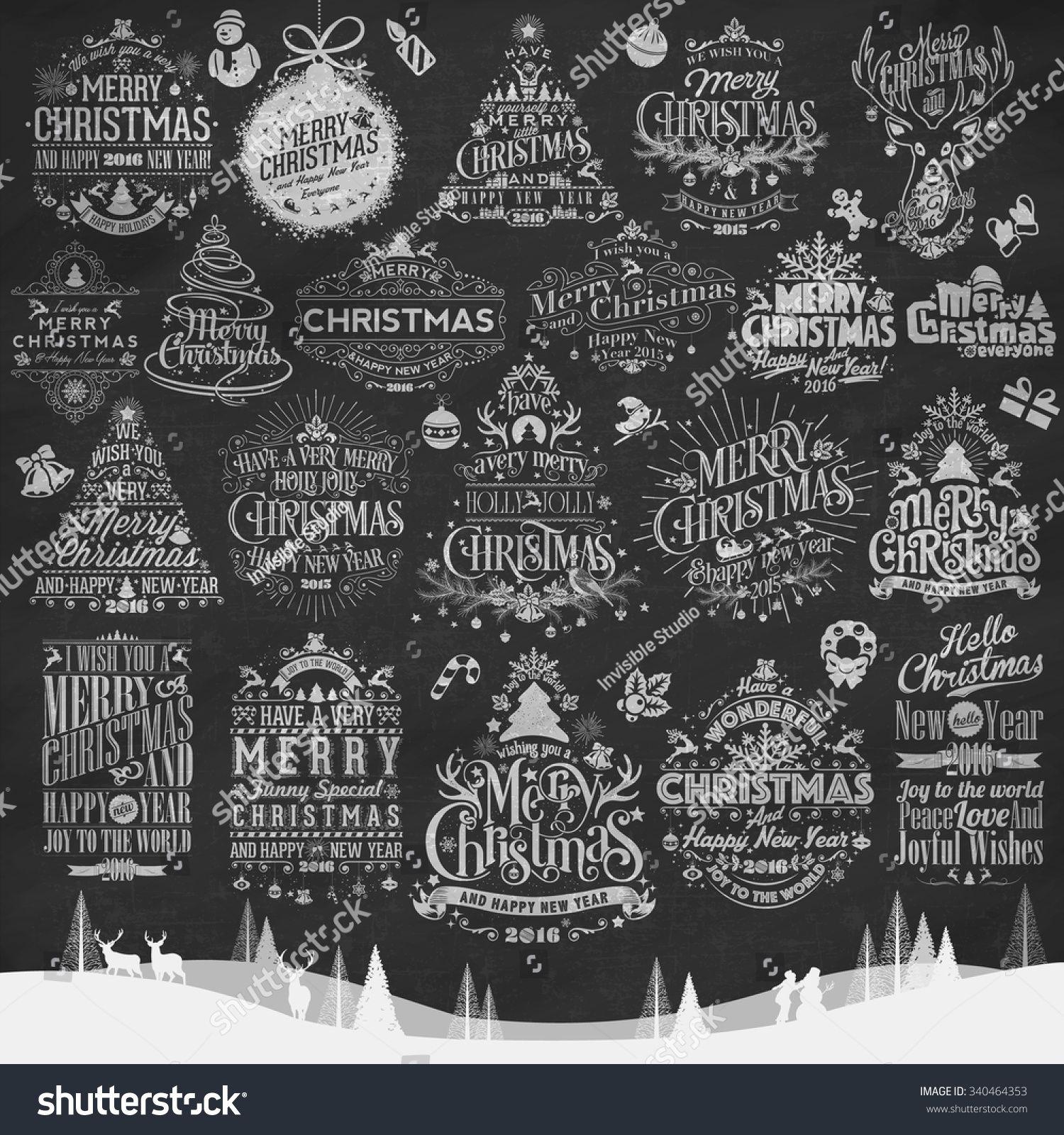 Download free vector of set of christmas greeting badge vectors ...