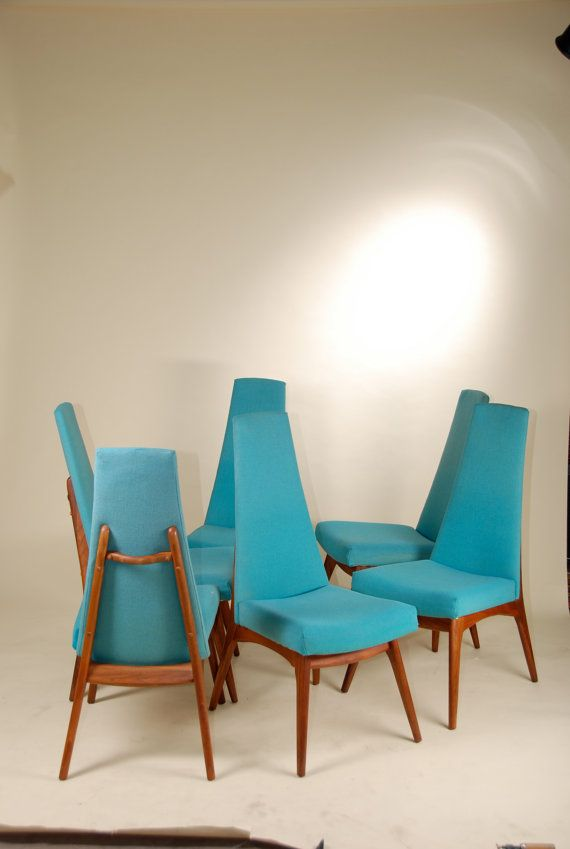 Set Of 6 Mid Century Modern High Backed Blue Dining Chairs