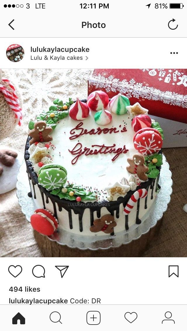 Dripping Macaron Christmas Cake With Images Christmas Cake