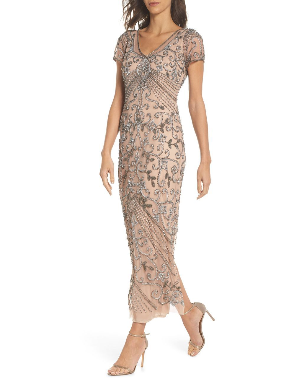 Pisarro Nights Womens Long Boat Neck Dress with Floral Beading Details