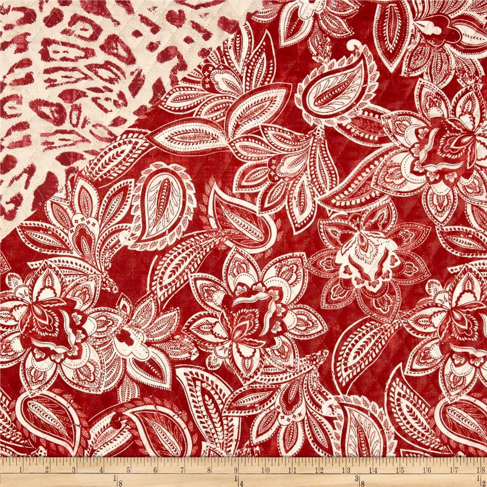 Bella Casa Double Sided Quilted Floral Burnt Red Quilt