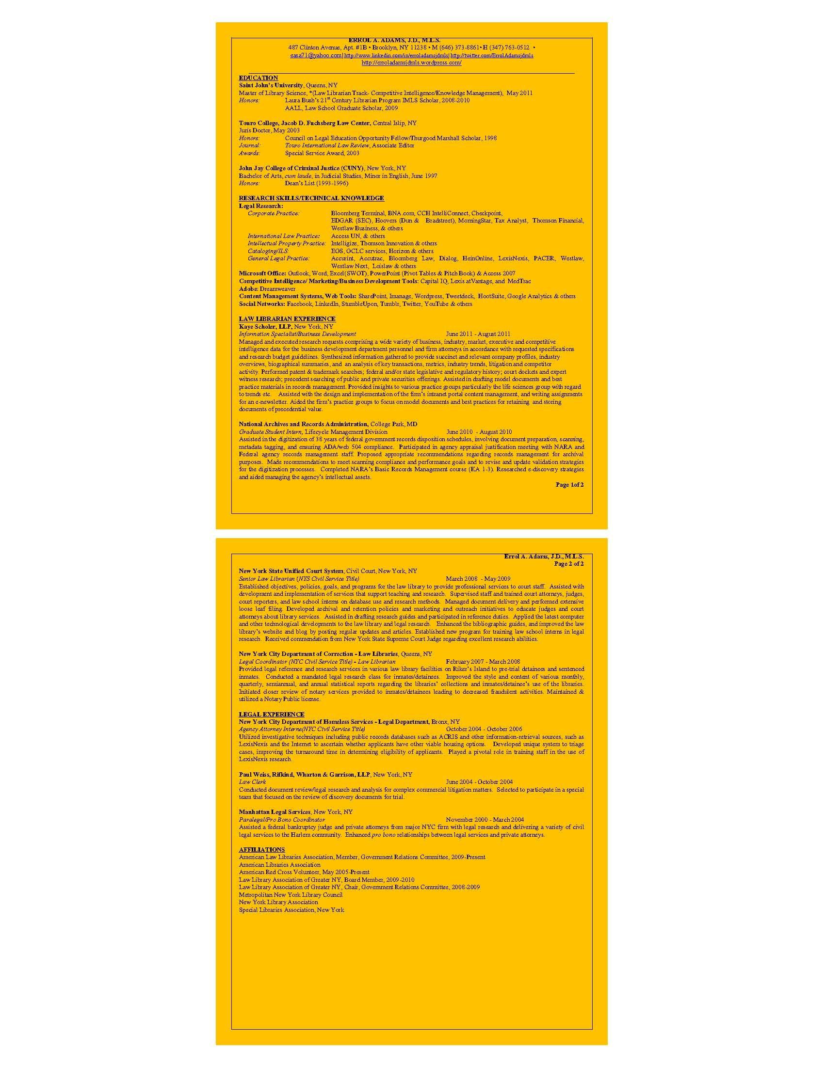 Errol A  Adams' Resume (PDF) | Errol's Resume & Blogs