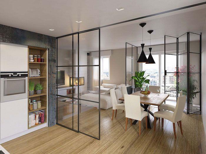 S paration cuisine salon coulissez une porte ouverte - Separation en verre cuisine salon ...