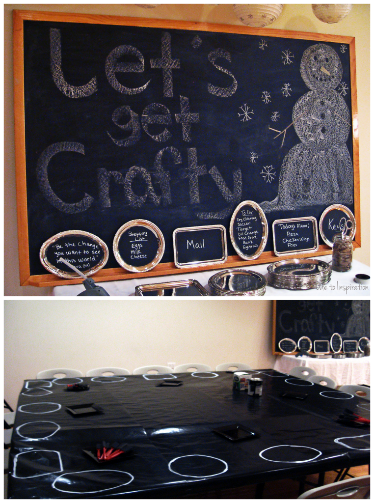 Winter Chalkboard Theme Craft Party. Dessert table and hot chocolate bar too. odetoinspiriation.com