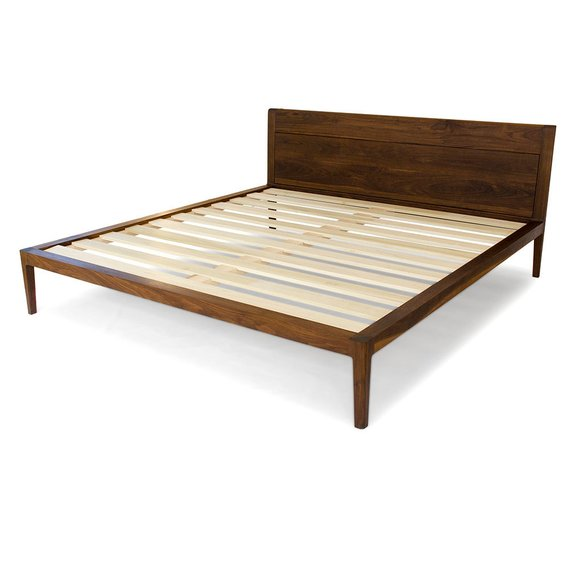 Walnut Platform Bed No 1 Modern Wood Bed Frame Twin Full