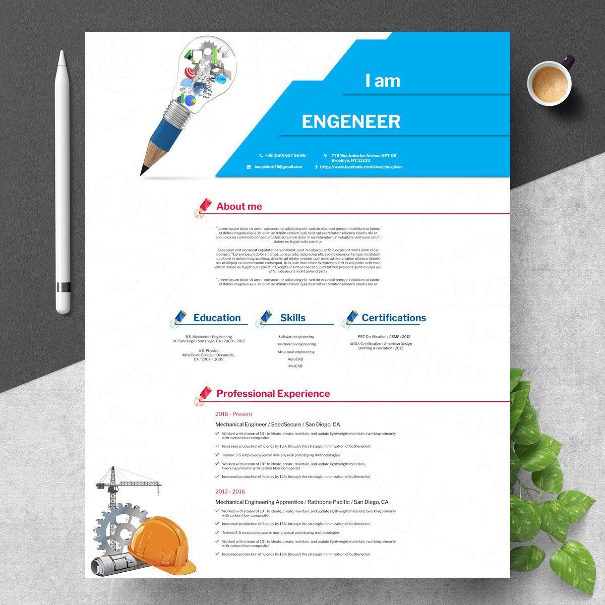 Engineering Resume Template Psd