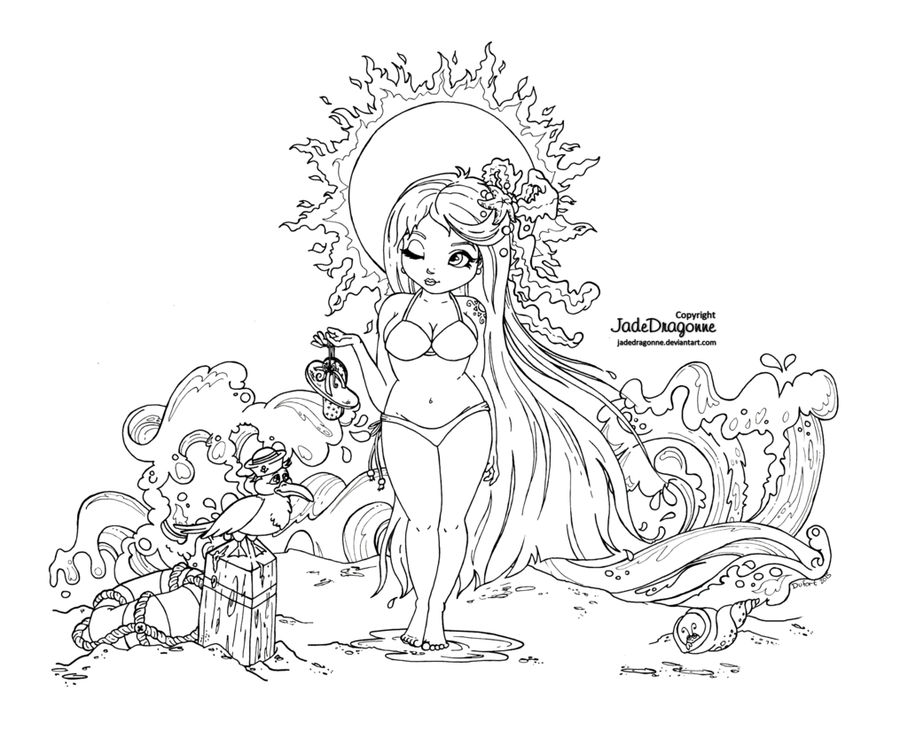 Summer Goddess -Lineart by JadeDragonne.deviantart.com on ...