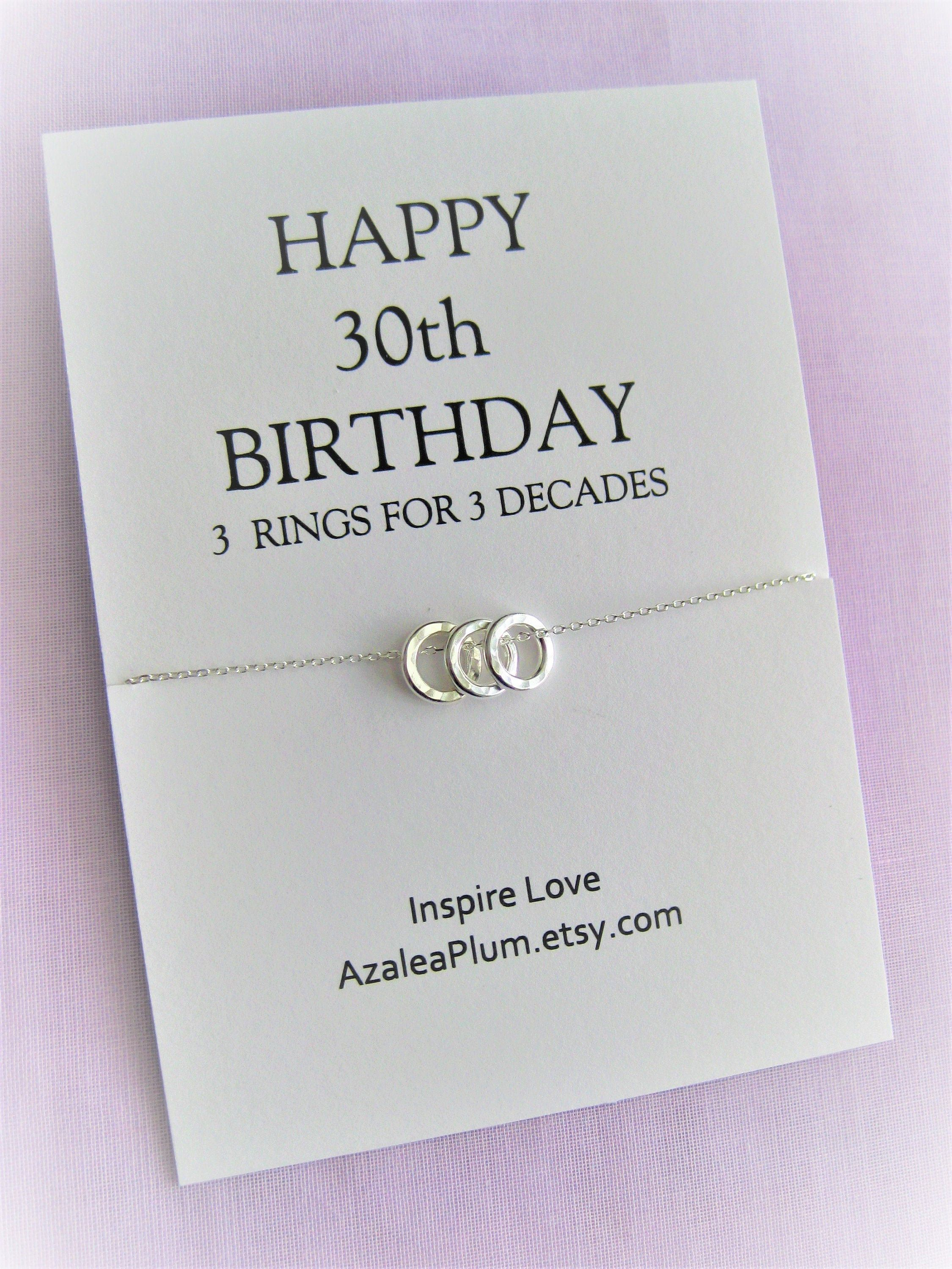 30th birthday for her solid sterling silver necklace