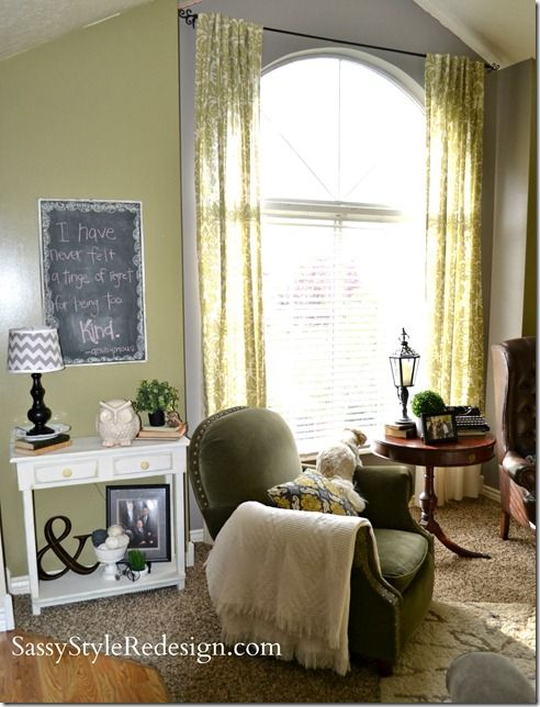 dining room curtains to hide half circle window ...