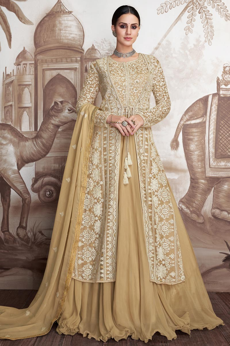 Buy Georgette And Net Fabric Beige Color Designer ...